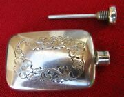 Small Antique Silver Engraved Perfume Flask With Applicator