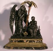 Antique Religious Bronze Nativity On A Marble Base.