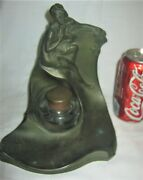 Antique Jb Art Nouveau Bronze Metal Glass Nude Lady Bust Statue Pen Tray Inkwell