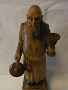 Beautiful Vintage German Carved Wood Figure Monk With Wine Glass And Jug T
