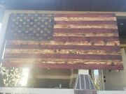 Wood Burnt Hand Craftedamerican flag 7 Ft X 44  350 Large, 250 Med, 75 Small