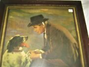 1925 Antique A. Delia Man Dog Lithograph Sign Art Print Glass Wood Picture Frame