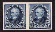 Us 227p5 15c Clay Proof On Stamp Paper Imperf Pair Scv 625