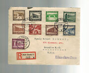 1936 Halle Germany Registered First Day Cover To Usa Complete Set B93 B101