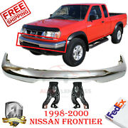 Front Bumper Chrome Steel + Mounting Bracket For 1998-2000 Nissan Frontier