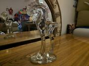Antique Heise Grecian Trojan Horse Pony Crystal Clear Glass 11 In. Tall Figurine