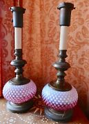 Pair Old Fenton Rare Cranberry Opalescent Hobnail Table Lamp Metal Base