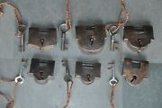 6 Pc Old Iron Solid Heavy Unique Shape Handcrafted Padlocks