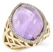 Large 17.88ct Diamond And Aaa Pink Amethyst 14kt Yellow Gold Marquise Shape Ring