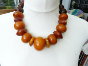 Huge Antique African Amber Phenolic Resin Beads Necklace With 14 K Solid Gold