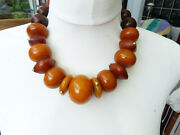 Huge Antique African Amber Phenolic Resin Beads Necklace, With 14 K Solid Gold