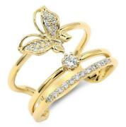 Estate Wide .28ct Diamond 18kt Yellow Gold 3d Butterfly Solitaire Love Ring