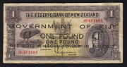 Fiji P-45b. 1942 Emergency Issue - 1 Pound. Overprint On N.z Andpound1 Lefeaux.. F+
