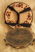 Temptations 2019 Floral Lace Basket Weave Chocolate Pie Plate And Tote Rack Lid