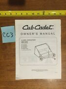 Cub Cadet Lawn Sweeper Sw-15cc Owner's Manual - Used - 15 Pages