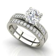 Cathedral 1.05 Carat Vs2/d Round Cut Diamond Engagement Ring White Gold