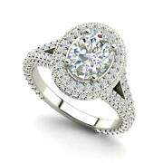 Pave Halo 2.1 Carat Vs1/d Oval Cut Diamond Engagement Ring White Gold
