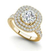 Double Halo 1.75 Carat Vs2/d Round Cut Diamond Engagement Ring Yellow Gold