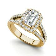Pave Halo 1.8 Carat Vs2/d Emerald Cut Diamond Engagement Ring Yellow Gold