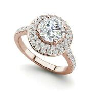 Double Halo 1.45 Carat Si1/d Round Cut Diamond Engagement Ring Rose Gold