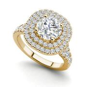 Double Halo 1.5 Carat Vs2/h Round Cut Diamond Engagement Ring Yellow Gold