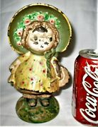 Antique Hubley Lg Dolly Dimple Girl Dress Cast Iron Art Statue Doll Toy Doorstop