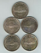 South Africa. 1960 Silver Crown X 5 Coins.. Prooflike Unc
