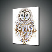 Cute Owl Brown Blue Watercolour Paint Style Canvas Print Wall Art Picture Photo