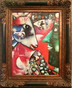 Hand Made Oil Paint Copy From Marc Chagall Framed I And The Village .