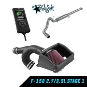 Edge Tuner Mbrp Exhaust Kandn Intake Package For 15-18 Ford F-150 2.7 3.5 Ecoboost
