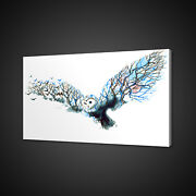 Watercolour Style Owl Tree Brunches Mounted Canvas Print Wall Art Picture Photo