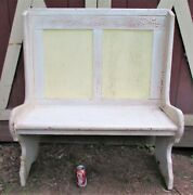 Antique Country Primitive Home Usa Shabby White Wood Seat Chair Kitchen Bench