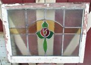 Antique Primitive Victorian French Home Stained Glass Window Wood Frame Sash Usa