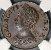 1746 Ngc Ms 62 George Ii 1/2 Penny Great Britain Mint State Coin 19072301c