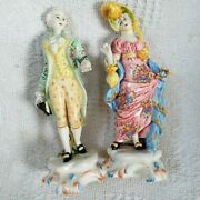 Asis Antique Porcelain Made In Italy Victorian Couple Statues Figuresandnbsp