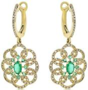 1.18ct Diamond And Aaa Emerald 14kt Yellow Gold 3d Flower Clip On Hanging Earrings
