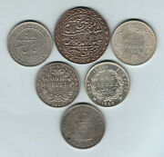 India And States. Silver Rupees X 6 Diff. Incs Alwar, Jaipur, Portuguese.. Vf-gef