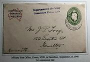 1941 Military Po In Cowra Australia Defense Canteens Cover To Newcastle England