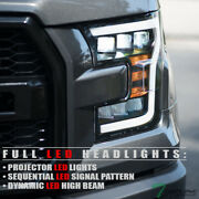 Topline For 15-17 Ford F150 Full Led Sequential Tri Projector Headlights - Black