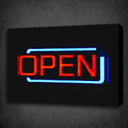 Open Neon Sign Restaurant Club Box Mounted Canvas Print Wall Art Picture Photo
