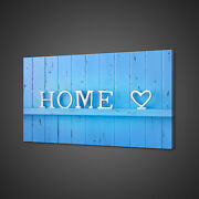 Blue Wooden Wall Home Sign Modern Canvas Print Wall Art Picture Photo