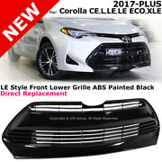For Corolla Le Xle Style 17-19 Front Bumper Lower Center Grille Glossy Black