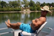 Shirtless Male Muscular Beefy Hunk Boating Cowboy Hat Photo 4x6 C1923