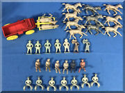 Vintage Rel Hard Plastic Cowboys Cowgirls Horses Mexican Bandits Red Buckboard