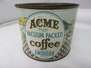 Vintage Acme Brand Coffee Tin Advertising Collectible Graphics M-72