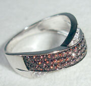 Lenox Sterling Silver Fancy Brown And White Cz Ring New