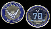 70th Anniversary Us Air Force Challenge Coin Pin Up Afb F22 F15 F16 A10 Ac130