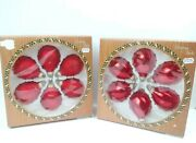Vintage Christmas By Krebs Glass Ornaments 2 Box Of 6 Candy Apple Gold Crown