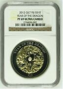 2012 Fiji Silver Year Of The Dragon 10 1 Oz Gilded Ngc Pf 70 With Pearl