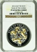 2014 Fiji Silver Year Of The Horse 10 1 Oz Gilded Ngc Pf 69 With Pearl